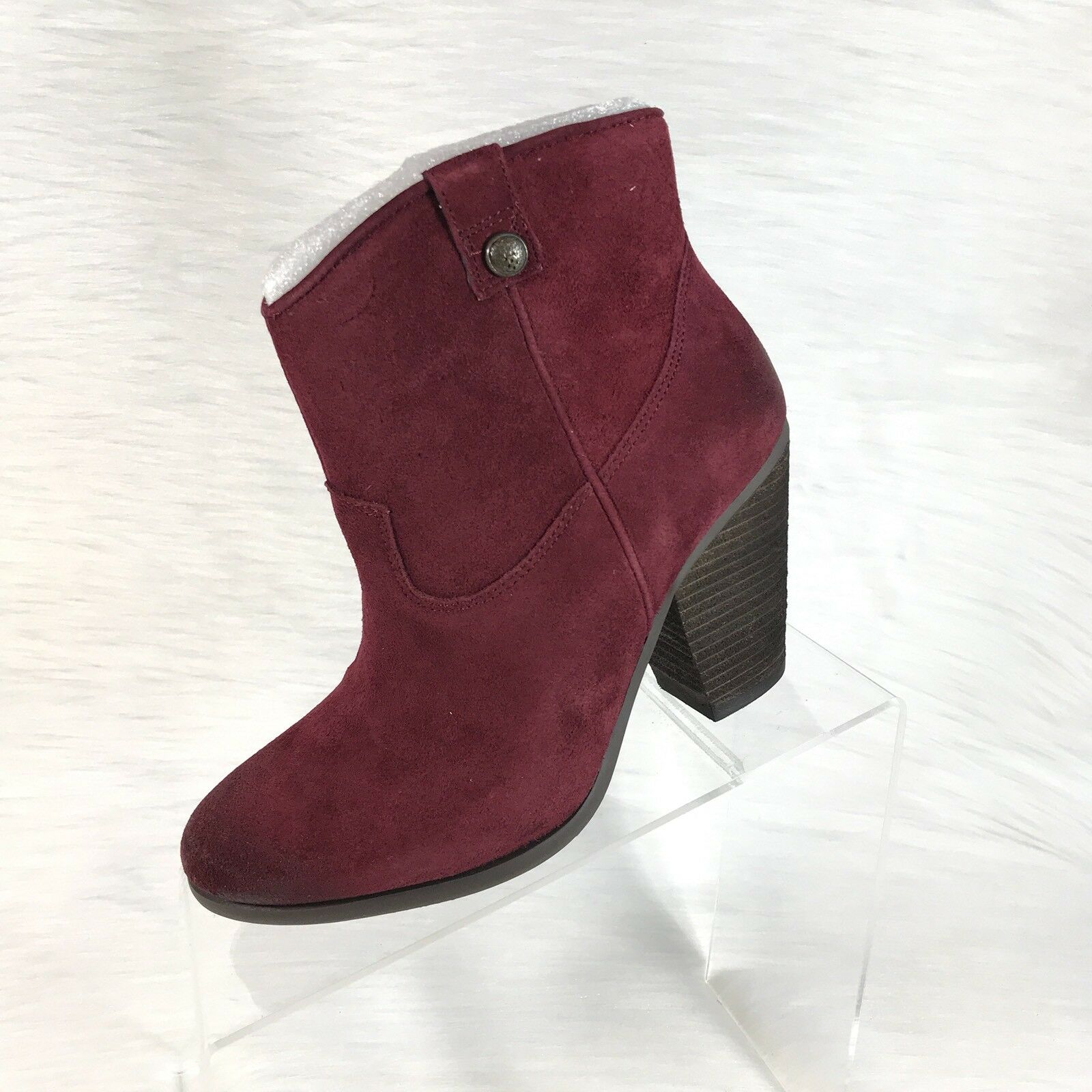 Vince Camuto Hammerton Ankle Stivali Western Burgundy Aged Suede Size 7 M NEW