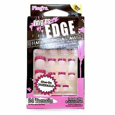 Fing'rs Edge Hardcore Toenail Addict Nails Toe Nail Pink Stripes French #31257