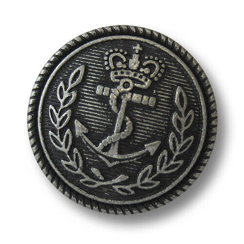 6 maritime Metallknöpfe Marineuniform 5751as altsilber mit Anker und Krone f