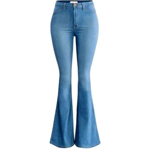 VIBRANT Womens Juniors Plus size High Waist Flared 70s Bell Bottom Jeans Denim