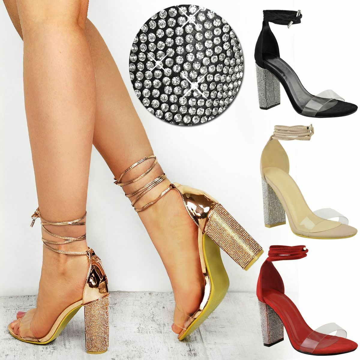 Womens Ladies Diamante Sparkle Party Sandals High Block Heels Perspex Clear Size