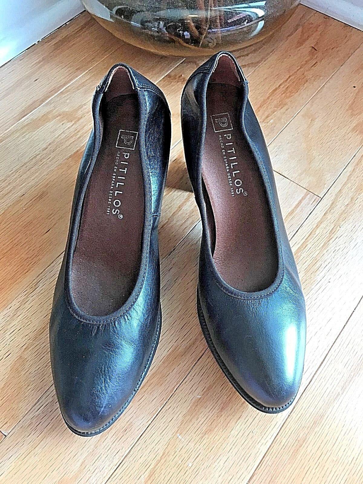 Black Leather Pitillos Pumps Shoes 39 7.5 8