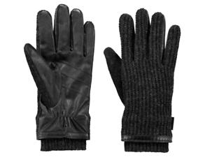Dettagli su Guanti Barts da uomo in pelle e lana con interno caldo e maglia grigio scuro