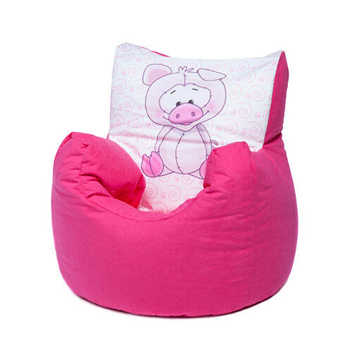 Pink Pig Childrens Character Filled Beanbag Kids Bean Bag Chair