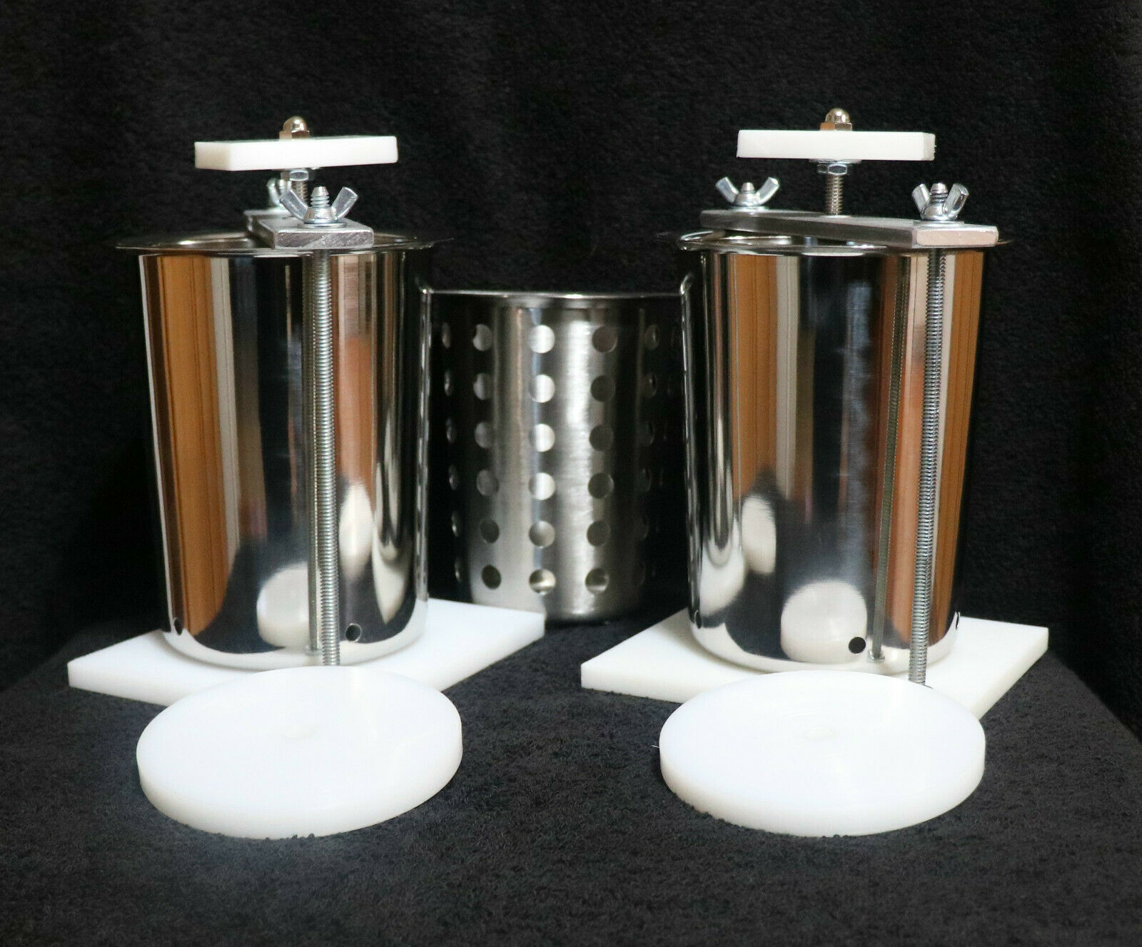 2 fromage Presses en acier inoxydable 5.250  Spring Assisted W FREE SOFT Cheese Mold