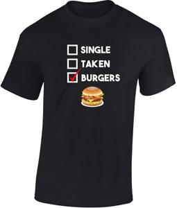 Single-Taken-Burgers-T-shirt-CADEAU-AMUSANT-Hommes-Femmes-Unisexe-blague-Food