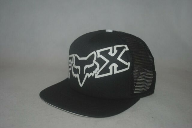 New Fox Riders Co Mens Flat Brim Cap Mesh Trucker Blackwhite Snapback Hat Osfm