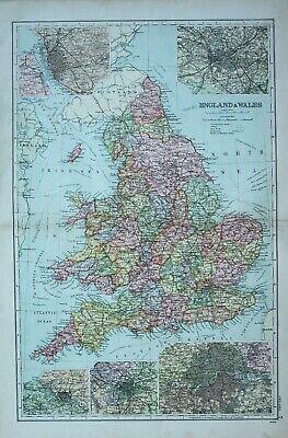 1900 MAP ENGLAND & WALES YORK DURHAM LIVERPOOL MANCHESTER ...
