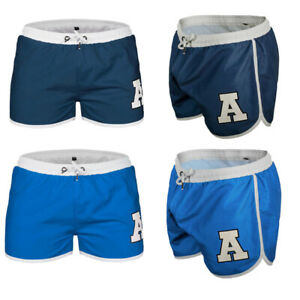 Men-039-s-Letter-Printed-Swim-Shorts-Briefs-Underwear-Swimming-Boxer-Trunk-Swimwear
