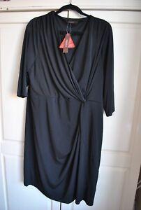 91d6d0efc94bc Image is loading BNWT-Savoir-Black-Mock-Wrap-Knot-Dress-Size-