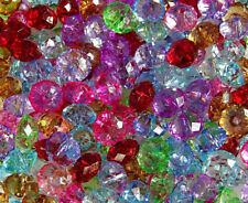100 Pcs//10 MM~OR~200 Pcs//8 MM~CLEAR~FACETED~RONDELLE~ACRYLIC BEADS~CHOOSE COLOR