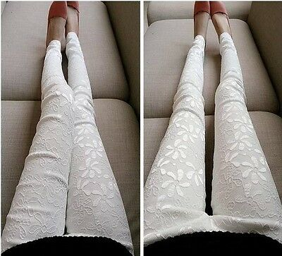 Sexy Women Casual Slim Fit Stretchable Lace Flower Leggings Skinny Tight Pants