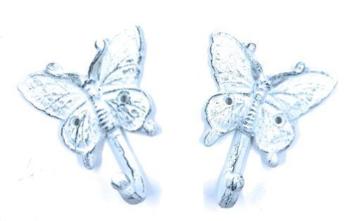 Rustic Cast Iron Coat Hooks Set of 2 Butterflies Decorative Hanging Towel Decor