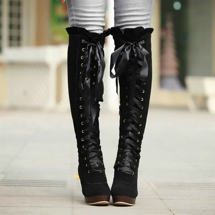 Round toe women's velvet lace-up chunky high heel knee high Knight boots shoes