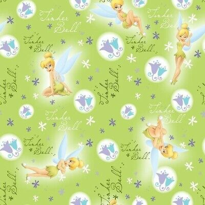 Disney Fairy Charm Tinkerbell Tinker Butterfly Large Panel Cotton fabric