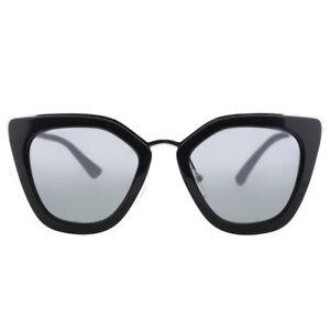 250b3c9d55 Prada PR 53SS 1AB6N2 Black Silver Plastic Sunglasses Silver Mirror ...