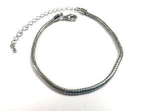 "1 Bracelet - 7"" Platinum Brass for European Charm Beads Lobster Clasp EB0028"