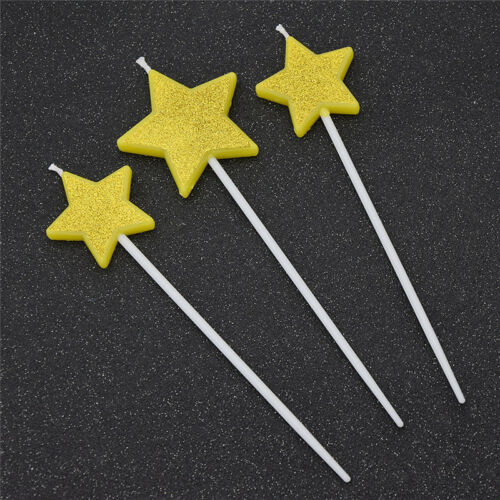 3 Pcs Candle Star Cake Topper Party Supplies Decoration Birthday Cake Candles