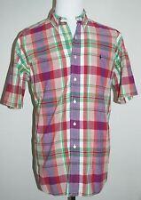 Ralph Lauren Golf Tilden Madras Plaid Men's L Short Sleeve Button Down Shirt