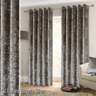 EYELET Ring Top Pair CRUSHED VELVET Heavy Lined Curtains
