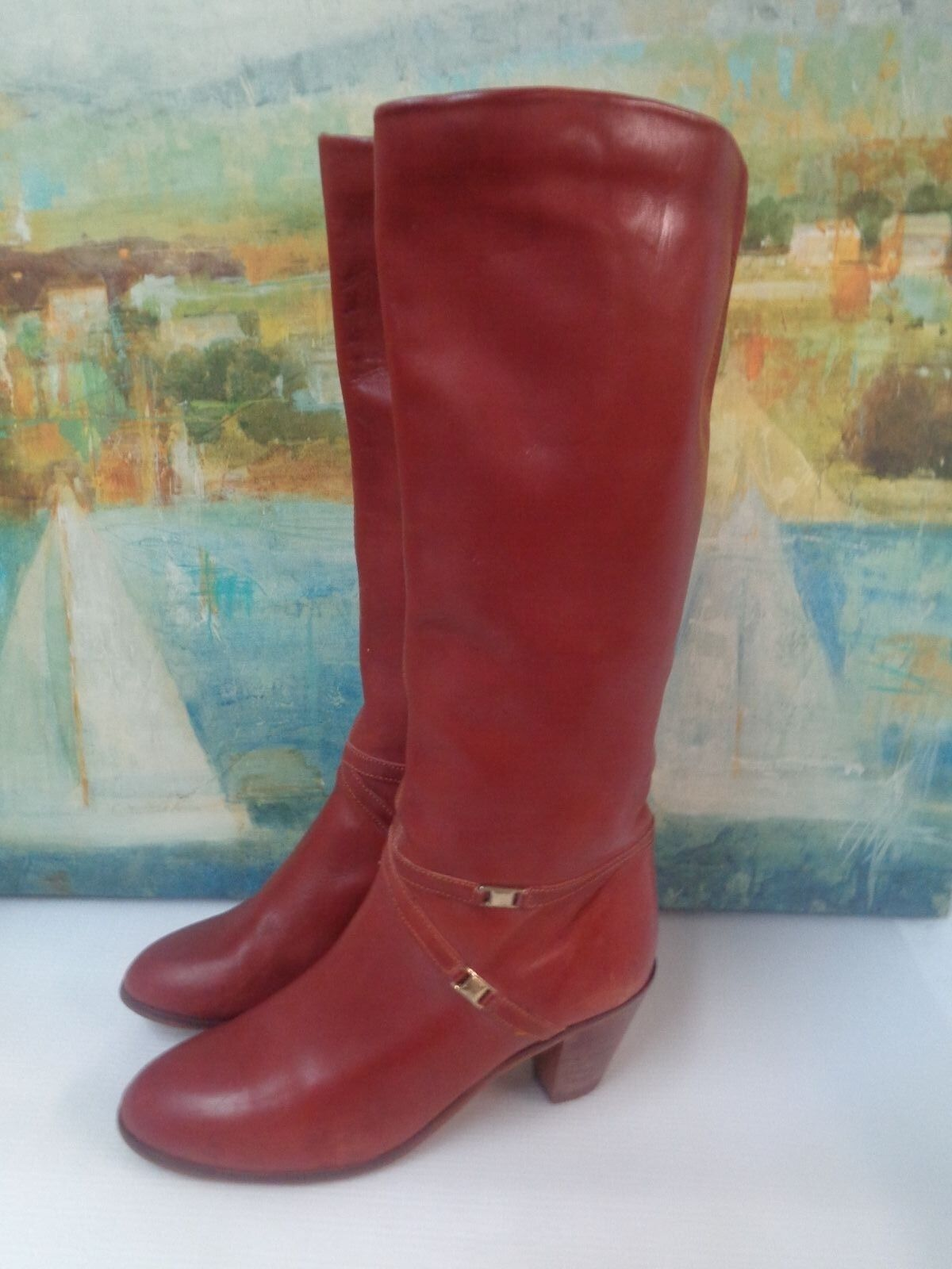 Women Leather Brown Leather Women Knee High Boots 10 4d58b1