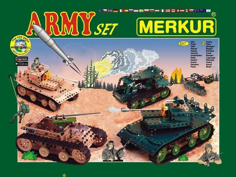 Metal construction set Merkur Army, 2,2 kg, NEW, made in CZECH REPUBLIC