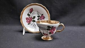 Rosina England Bone China 5519 Rose White Flower Gold Band - Cup & Saucer