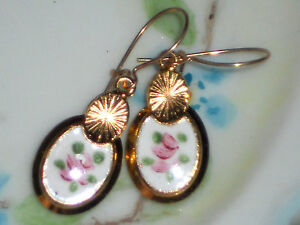 #1492F Vintage Earrings Guilloche Enamel Floral Gold Plated Flower Dangle Blue