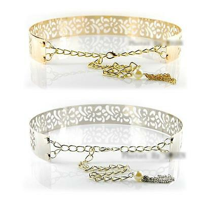 Metal Hollow Out Gold & Silver Waistband Waist Carving Mirror Wide Fashion Belt