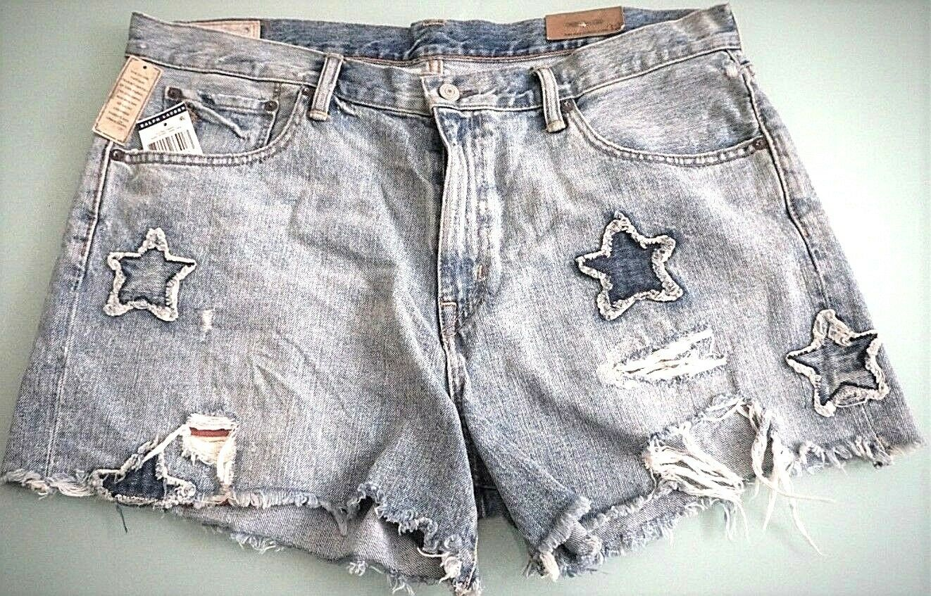Polo Ralph Lauren Crosby Distressed Cut Off Star Patch Denim Shorts 28 29 30 Wmn