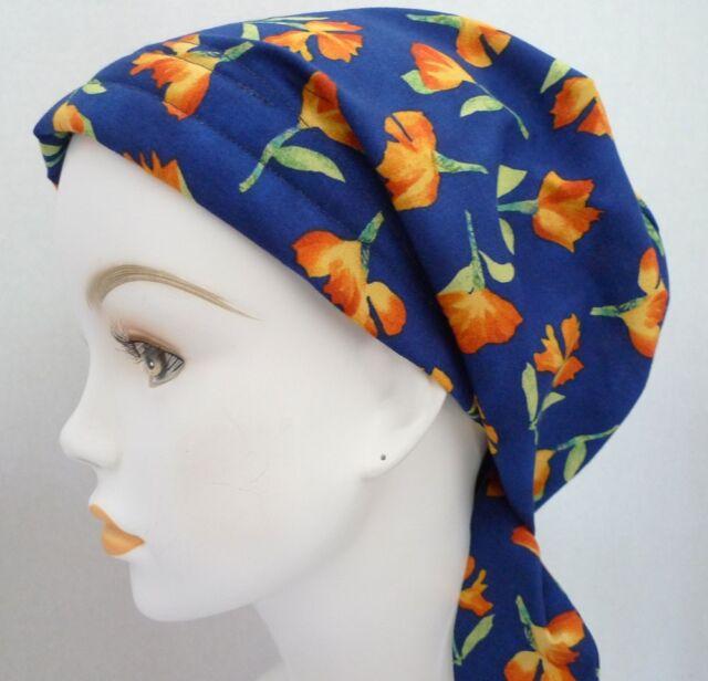 Head Scarf Cancer Hair loss Royal Blue Chemo Sleep Cap