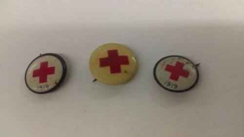 3 1919 Red Cross Service Pins 2 Blue Ring & One White Not Dated