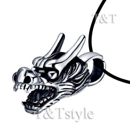 NP160 High Quality T/&T 316L Stainless Steel Dragon Pendant Necklace