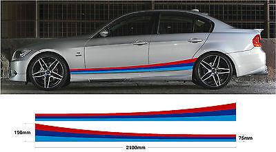BMW Side Stripes 2.1m - Car decal graphic M sport E30 E36 E39 E46 E60 E90 M3 M5