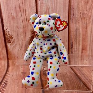 Beanie-Babies-TY-2K-Confetti-TEDDY-BEAR-1999-2000-TAG-ERRORS-Original-RETIRED