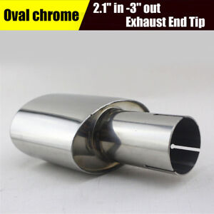Chrome-2-1-039-039-Inlet-3-039-039-Outlet-Exhaust-Tip-Tail-Pipe-Stainless-Steel-7-87-039-039-Long