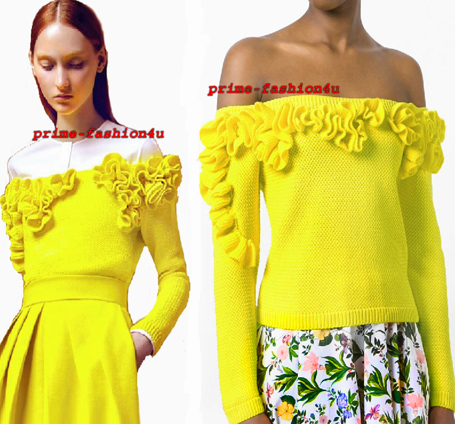 Delpozo Bright Yellow Cotton Ruffled Off-the-Shoulder Knit Sweater Top