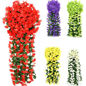 Artificial Fake Hanging Flowers Vine Plant Home Garden In Outdoor Multi Decor Ebay