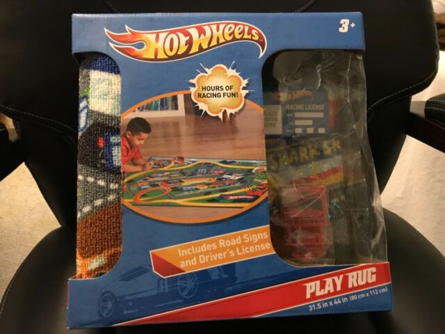 Hot Wheels Play Rug Activity Track Make Believe Set Road Sign Big