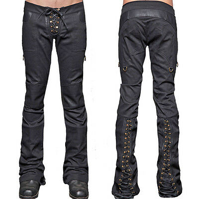 Lip Service Badlands Rocker Lace Up Faux Leather Stretch Men Flare Pants Black