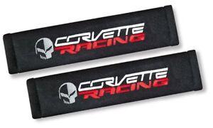 2X-Embroidery-ChevyC6-Corvette-Racing-Cotton-Black-Seat-Belt-Cover-Shoulder-Pad