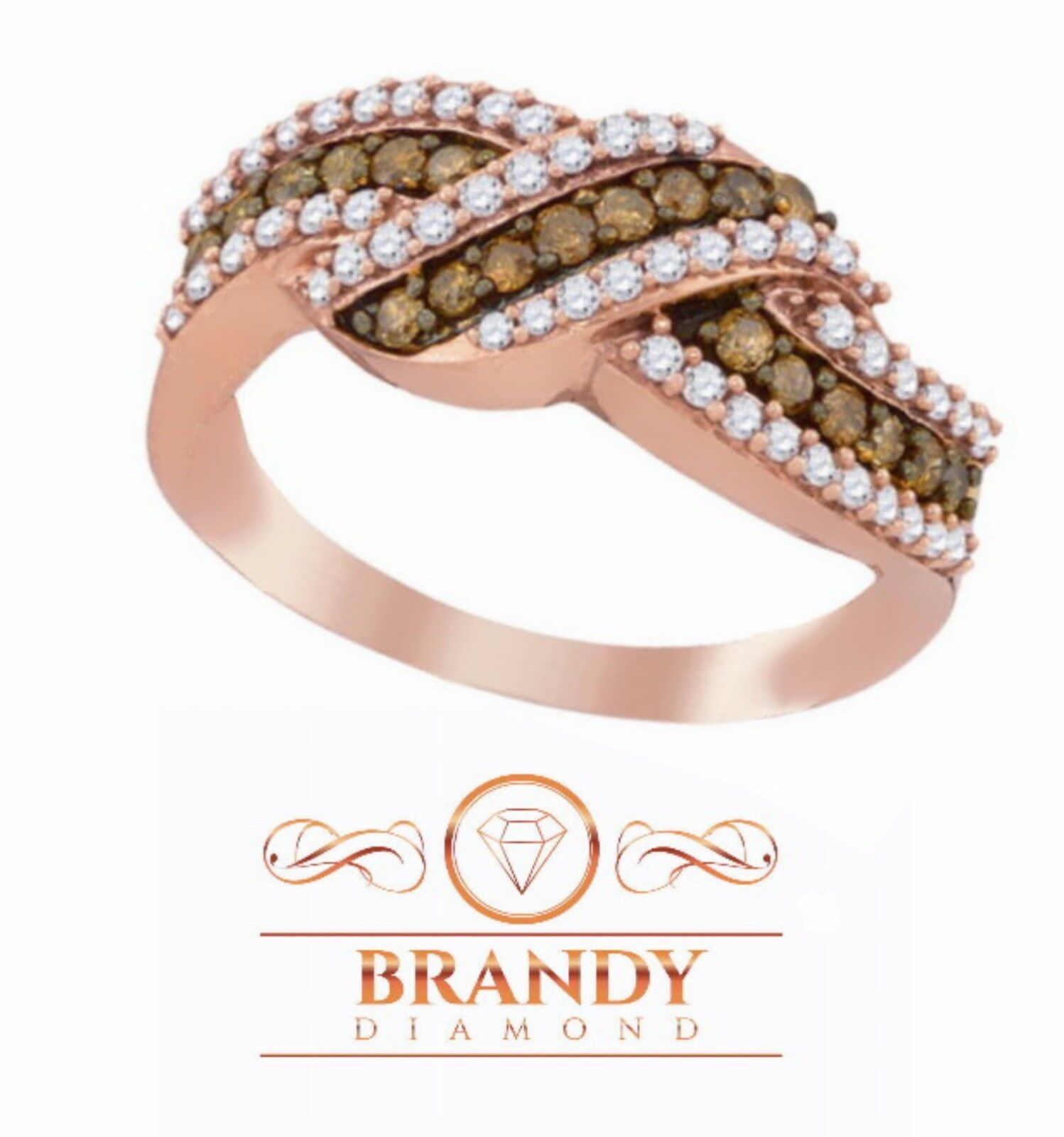 Brandy Diamond® Chocolate Brown 10K pink gold Credver Wave Shaped Ring .75 Ct