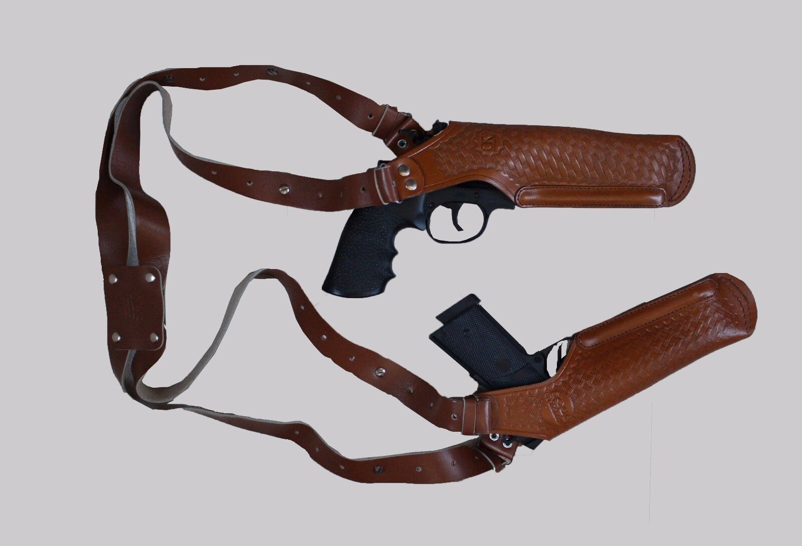 K448-92 2 Gun greenical Shoulder Holster Fits Beretta Taurus with 4  Handmade