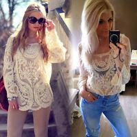Semi Transparent Stickerei Spitze Floral Crochet T Shirt Bluse Tops Damen Mode