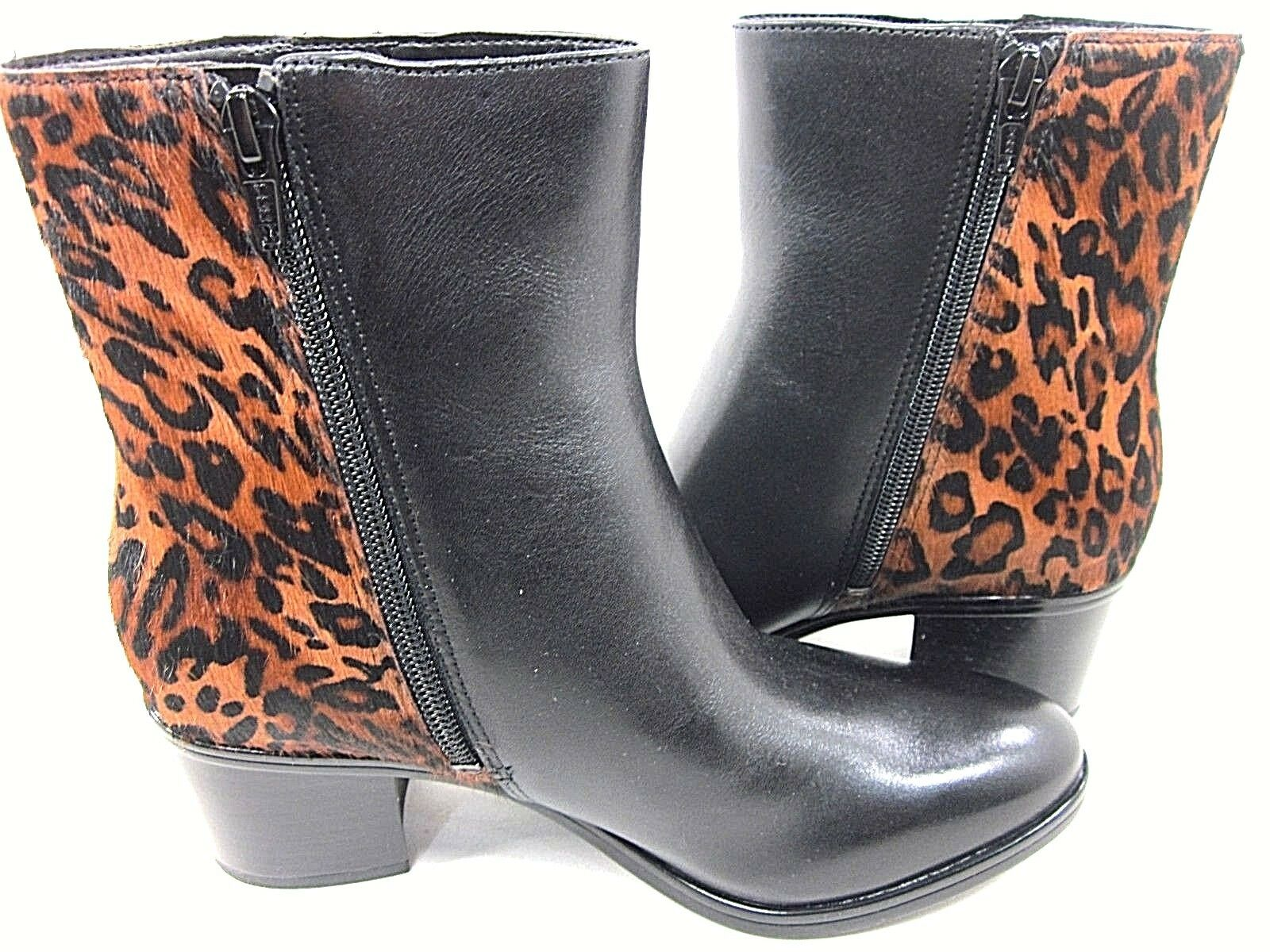 NATURALIZER US HARDING BLACK LEATHER/ LEOPARD PONY HAIR BOOT WOMEN'S US NATURALIZER SIZE 6M NEW ca4760