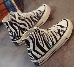 Womens-High-Top-Zebra-Parrern-Canvas-Sneakers-Flats-Lace-Up-Casual-Trainers-New