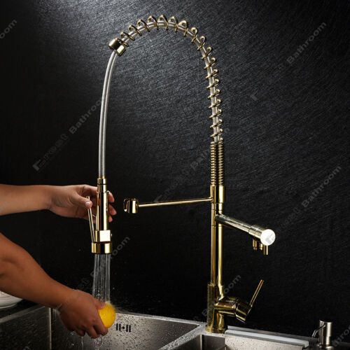 28/'/' Pull Out Down Kitchen Sink Mixer Taps Faucet High Pressure Zirconium Gold