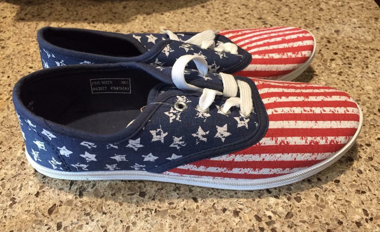 Women's  Canvas USA American FLAG  Themed Tennis shoes Sneakers  7 8 9  NEW