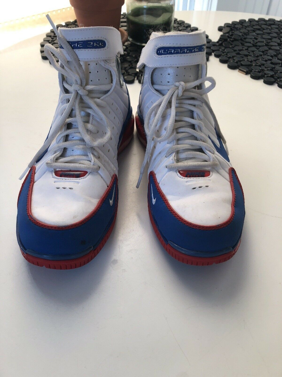 Nike Huarache Sneakers White bluee red Size 7.5 High Top