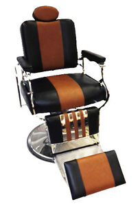Professional-Reclining-Barber-Chair-Rare-Two-Tone-Black-Brown-Classic-Look-Style